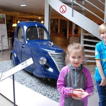 three wheel car at museum